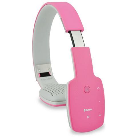 FONEX On Air Cuffie Stereo Bluetooth V4.0 con Microfono + Tasto di Risposta Dotate di Cavo Jack 3,5 mm Colore Rosa