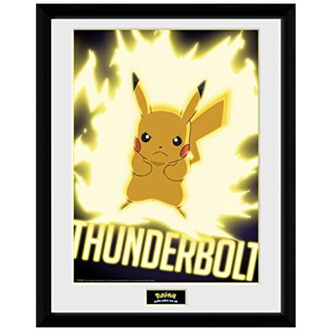 GB EYE LTD Gb Pokémon Eye Thunder Bullone Pikachu Incorniciato Stampa Fotografica, Multicolore, 30 X 40 Cm