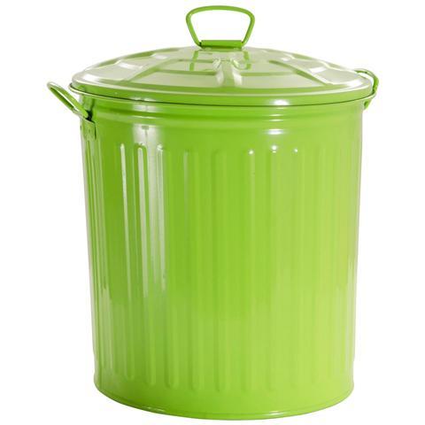 Bidone In Metallo Colorato Con Capacità 35 Lt. Verde
