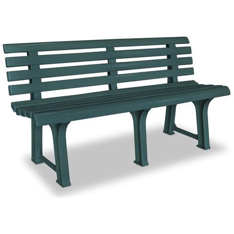 Panchina Da Giardino In Plastica 145,5x49x74 Cm Verde