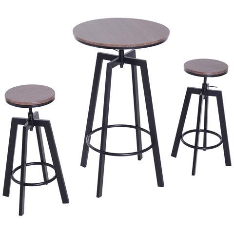Set Da Bar Stile Industrial Tavolino E 2 Sgabelli Altezza Regolabile In Acciaio E Legno