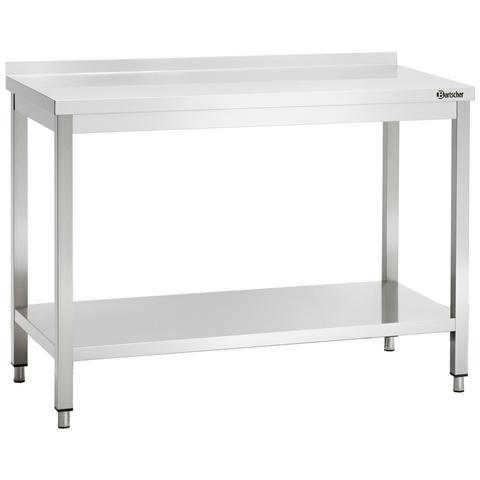 308127 Tavolo da lavoro con alzatina in inox 1200x700x850-900 mm