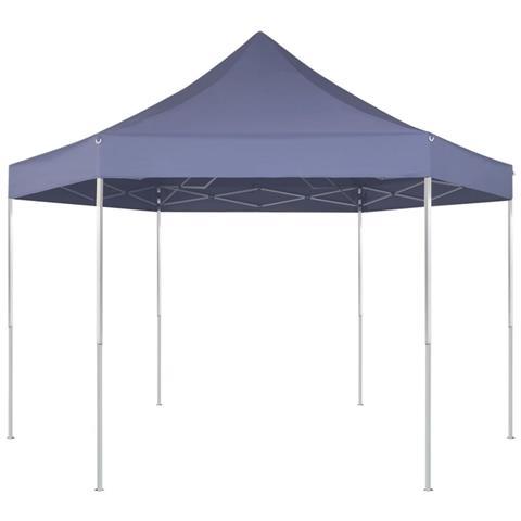 Gazebo Pieghevole Esagonale Pop-up Blu Scuro 3,6x3,1 M