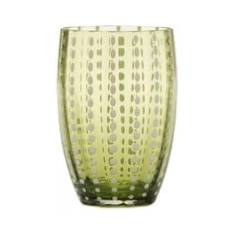 Set 6 Bicchieri Tumbler In Vetro Ø 71 Mm H 109 Mm Capacità 32 Cl Colore Verde Mela - Collezione Perle