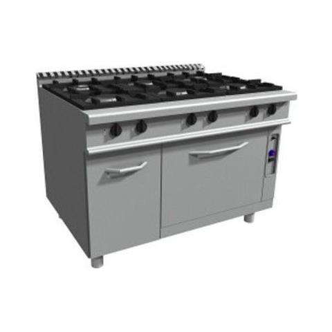 Cucina 6 fuochi a gas su forno a gas statico GN 2/1 - Dim. cm 120x90x85h