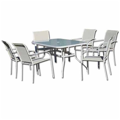 Set da giardino con tavolo in ferro e vetro da pranzo con sedie per esterno