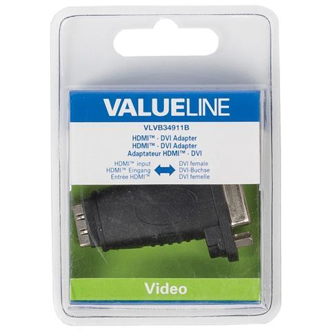 VALUELINE VLVB34911B, HDMI, DVI-I, Femmina / femmina, Nero