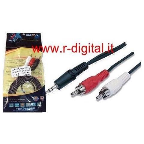r2digital Cavo Convertitore Audio Stereo Da Jack 3,5 Mm Ad 2 X Rca 1,5 Metri Adattatore Spina Cuffia