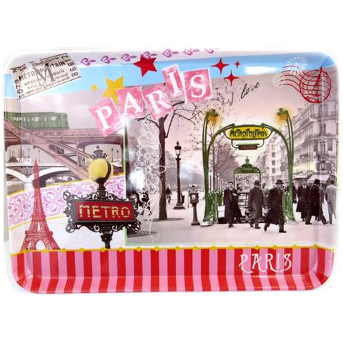 Les Trésors De Lily plateau 'métro de paris' annata rosso (30x21 cm) - [ m4545]