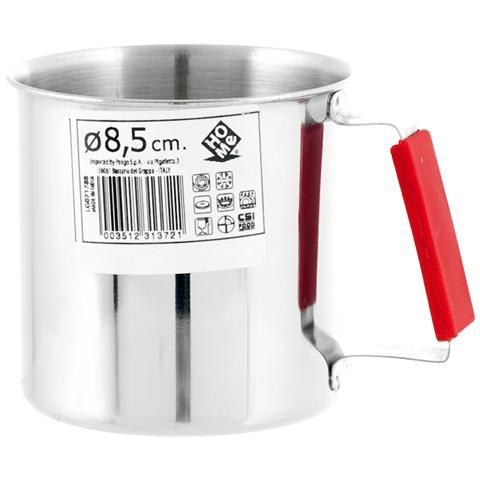 HOME Pignatto Acciaio Inox Manico Rosso Cm 8.5 Pentole Cucina