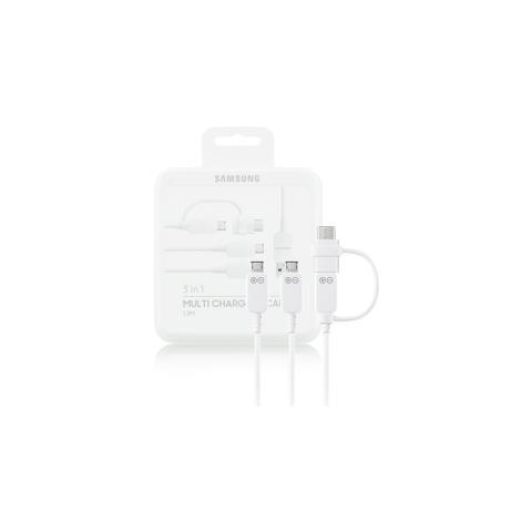 SAMSUNG Cavo Dati 3in1 microUSB / Type-c colore bianco