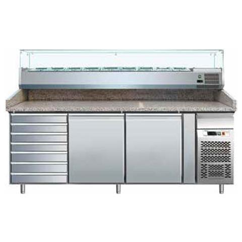 Banco pizza 2 porte + cassettiera neutra 7 cassetti con piano in granito e vetrina portacondimenti (Gn 1/4)