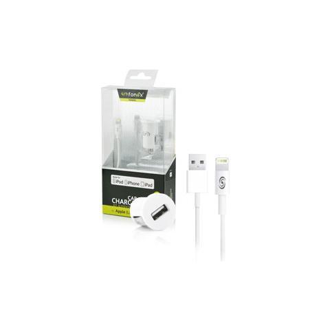 FONEX Certificazione Made For iPhone Kit di Alimentazione da Auto 2USB 2.1A con Cavo Dati per Apple Lightning Colore Bianco