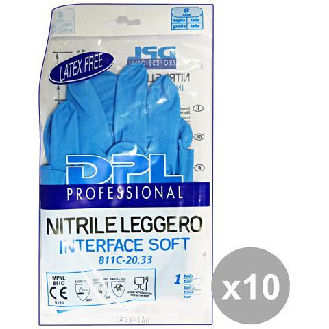 DPL Professional Set 10 Guanti Piatti Nitrile Anallergici L Gi