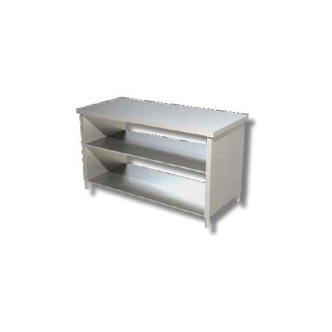 Tavolo 200x60x85 Acciaio Inox 430 Su Fianchi Ripiano Cucina Ristorante Rs4159