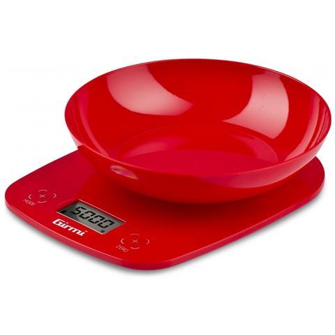 Bilancia da Cucina Elettronica con Ciotola Colore Rosso