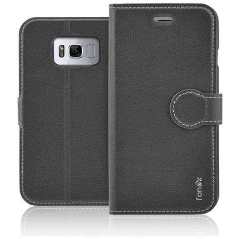 FONEX Flip Cover Custodia per Galaxy S8 - Nero