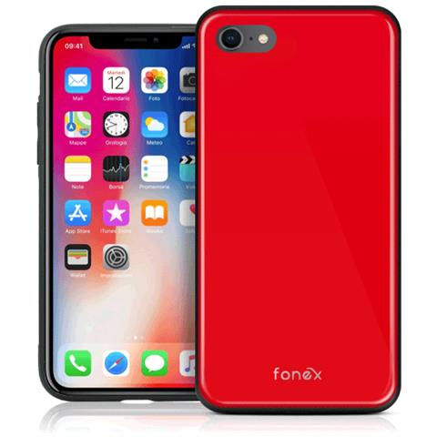 FONEX Custodia con Retro in Vetro Temperato e Bordi in TPU per Apple iPhone 7/8 Colore Rosso