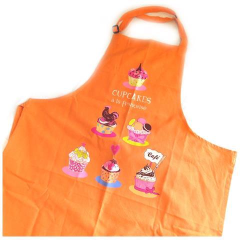 'french touch' grembiule 'cupcakes a la française' arancione - [ m5763]