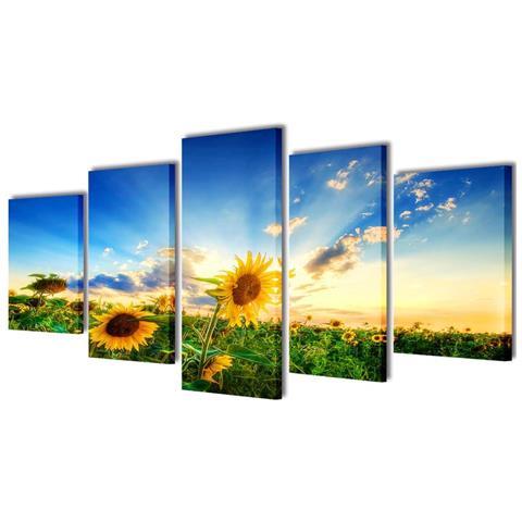 vidaXL 5 Pz Set Stampa Su Tela Da Muro Girasole 100 X 50 Cm