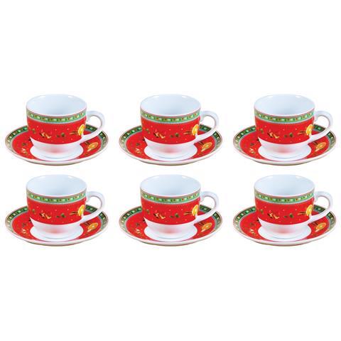 Set 6 Tazze da Caffè con Piatto Decoro Natale