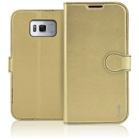 FONEX Flip Cover Custodia per Galaxy S8 Plus - Oro