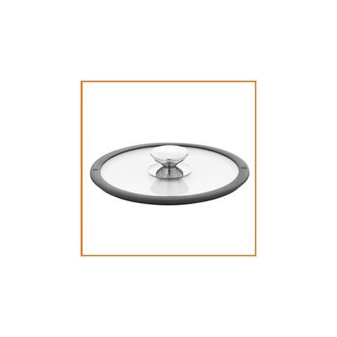 Coperchio In Vetro Con Bordo Nero In Silicone 24 Cm