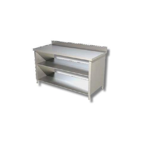 Tavolo 80x60x85 Acciaio Inox 430 Su Fianchi Ripiano Alzatina Ristorante Rs4181