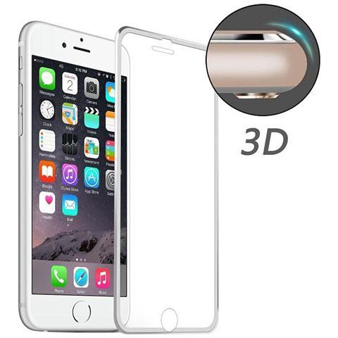 NetworkShop Pellicola In Vetro Temperato 3d Schermo Iphone 6/6s Plus Bordo Curvo Silver