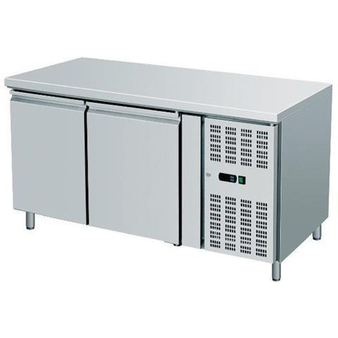 Tavolo Frigo Refrigerazione 2 Sportelli O Cassetti + Motore Acciaio Inox Temp -2 / +8 Dim. cm 136x70x85h