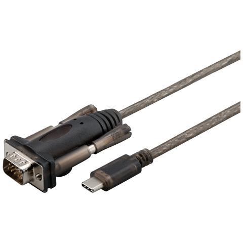 WENTRONIC 56589, USB-C, D-SUB / RS-232, Maschio / maschio, Marrone