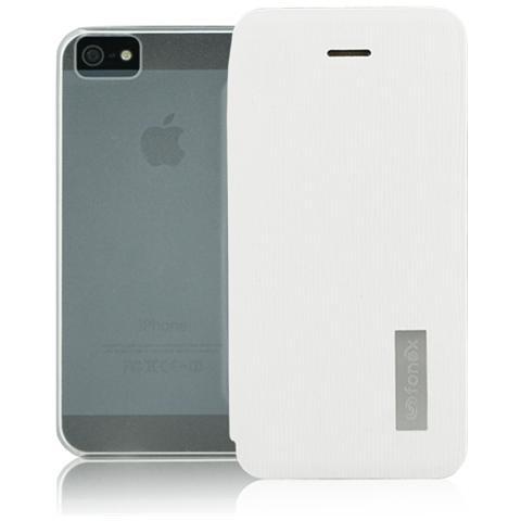 FONEX Crystal Slim Custodia a Libro con Back Trasparente per Apple iPhone 5/5S / SE Colore Bianco