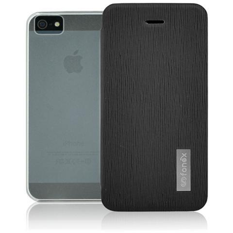 FONEX Crystal Slim Custodia a Libro con Back Trasparente per Apple iPhone 5/5S / SE Colore Nero