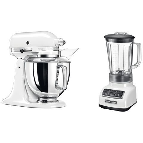 Robot da Cucina Artisan 5KSM175PSEWH Colore Bianco + Frullatore Classic 5KSB1565EWH Colore Bianco