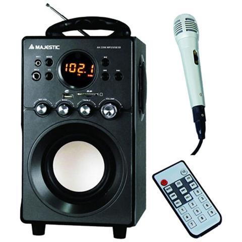 Majestic Sistema Micro Hi-Fi AH239 Potenza Totale 11Watt porta USB / AUX / Slot SD Sintonizzatore FM + Microfono