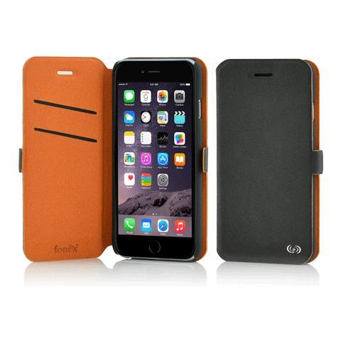 FONEX Elegance Book Custodia a Libro per Iphone 6/6S Bicolore Grigio Scuro / Arancio