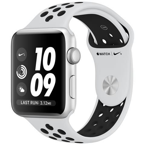 APPLE Watch Nike+ Serie 3 Impermeabile 5ATM 8GB WiFi / Bluetooth con Contapassi e Cardiofrequenzimetro Platino / Nero