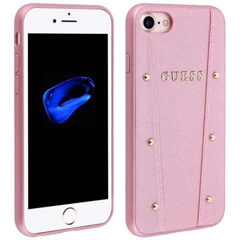 GUESS - Cover Apple Iphone 8   7 Protezione Rigida Borchie Rotonde Guesse -  Rosa 095fa3b93a3d