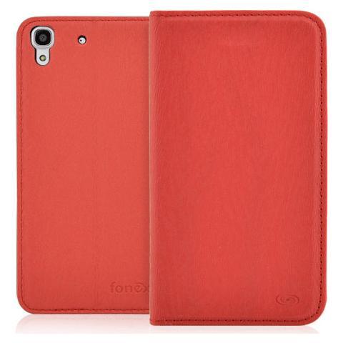 FONEX Classic Book Custodia a Libro in Ecopelle per Huawei Y6 Colore Rosso