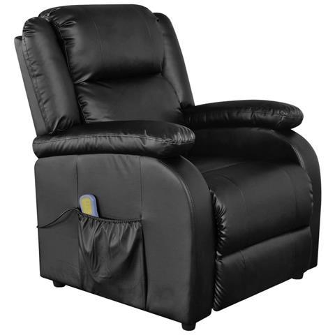 Vidaxl Poltrona Massaggiante Elettrica Ecopelle Nera Tv