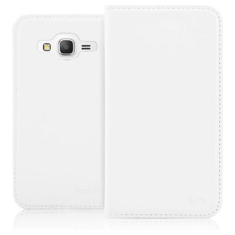 FONEX Classic Book Custodia a Libro In Ecopelle per Samsung Galaxy Grand Prime Colore Bianco
