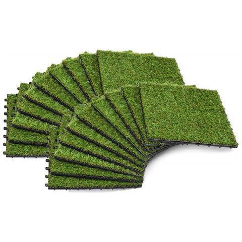Piastrelle In Erba Sintetica 20 Pz 30x30 Cm Verde