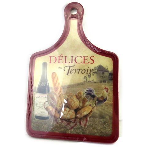 tagliere 'terroir français' pane, gallo, vino (30x20 cm) - [ m4900]