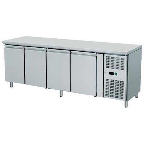Tavolo Frigo Refrigerazione 4 Sportelli O Cassetti + Motore Acciaio Inox Temp -2 / +8 Dim. cm 223x70x85h