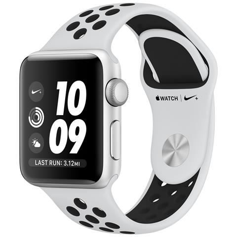 APPLE Watch Nike+ Serie 3 Impermeabile 5ATM 8GB WiFi / Bluetooth GPS con Contapassi e Cardiofrequenzimetro Platino / Nero