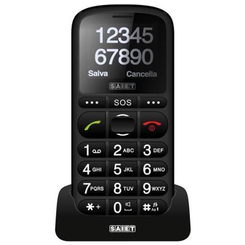 """SAIET Pronto Max Senior Phone colore Nero Display 1.8"""" Bluetooth con Tasti Grandi + SOS - Europa RICONDIZIONATO"""
