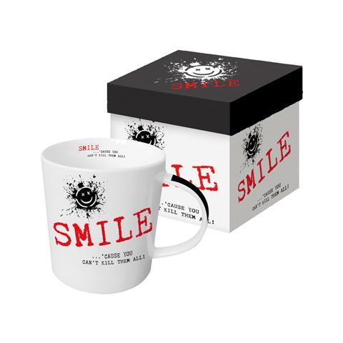 Tazza di porcellana in confezione regalo, con scritta in inglese: TOPDOG, Bianco nero grigio rosso
