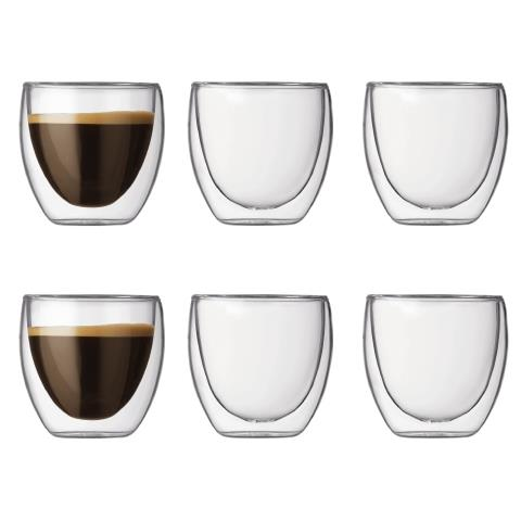 Set 6 bicchieri Doppia parete 0.08 l Trasparente
