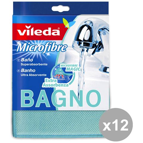 Vileda Set 12 Panno Bagno Microfibra Attrezzi Pulizie