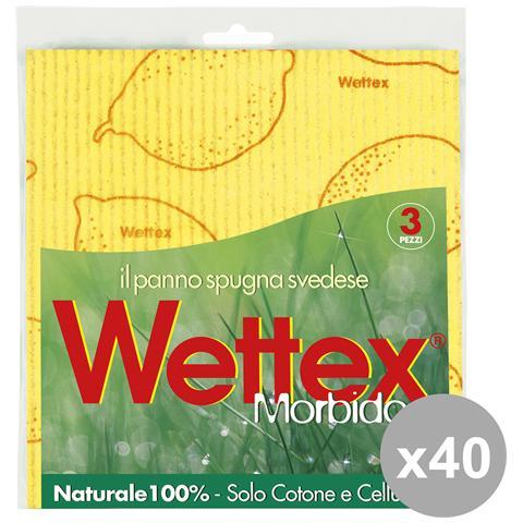 Wettex Set 40 Pannispugna X 3 Pezzi Attrezzi Pulizie